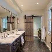 barn door in rustic/contemporary kitchen