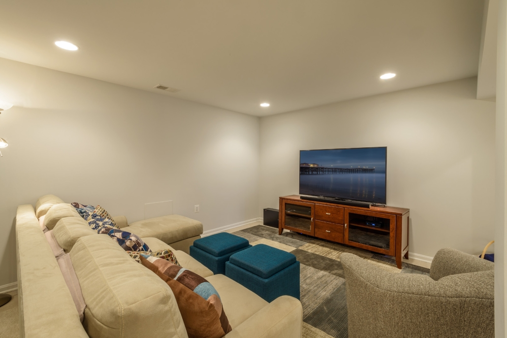 Annandale basement remodel with media area