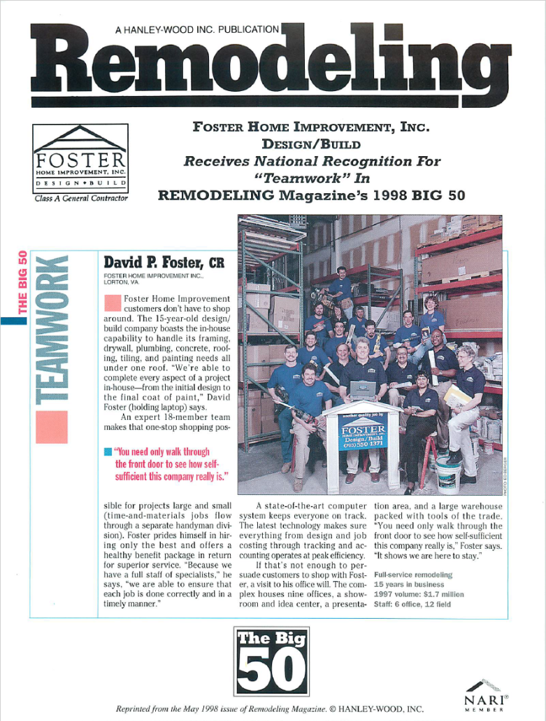 Foster Receives Award from Remodeling Magazine