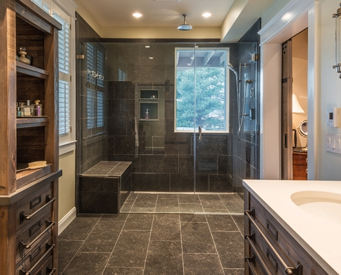 stunning master bath remodel in Great Falls, VA
