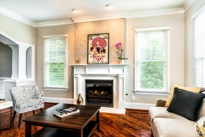 Interior remodeling, fireplace facelift with custom mantle and feature wall tile