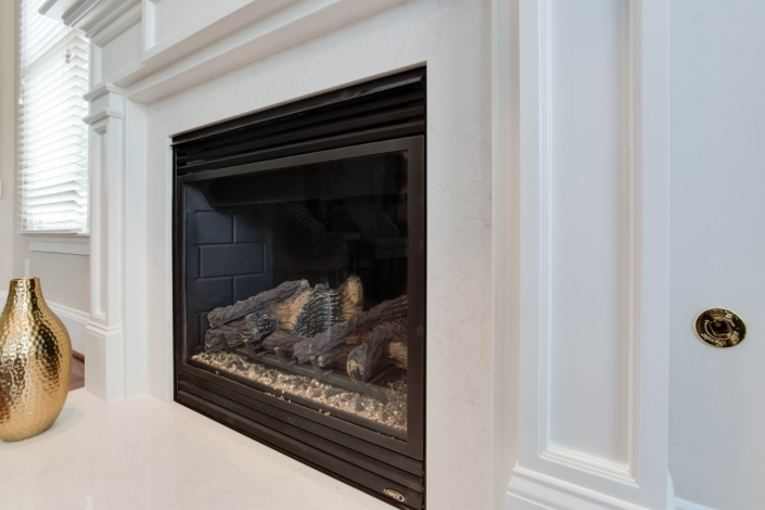 Fairfax, VA, gas fireplace update with custom wood and Mantle