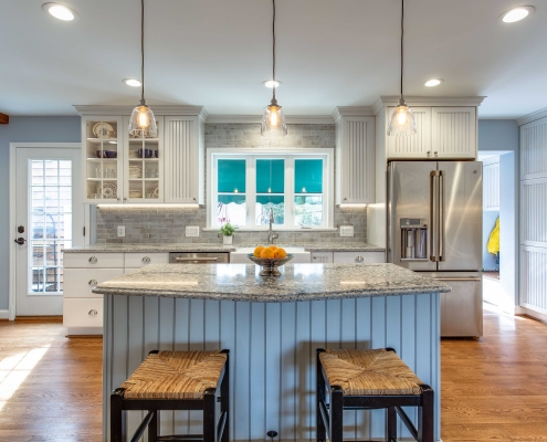 custom Alexandria VA kitchen remodel Ceaserstone countertop in Himalayan Moon with Crystal Current cabinets and custom island