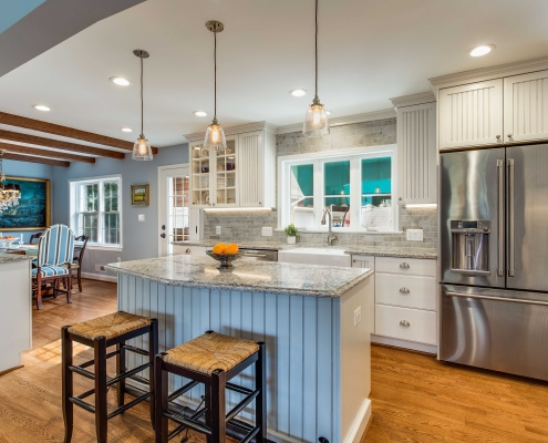 Kitchen remodel, Alexandria, VA with pendant lighting over custom island with Ceasarstone countertops