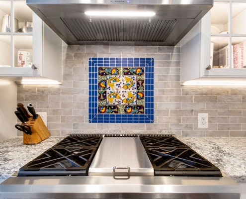 kitchen remodeling, Alexandria, VA with customer provided inset accented by Dal Tile blue deco tiles for focal point