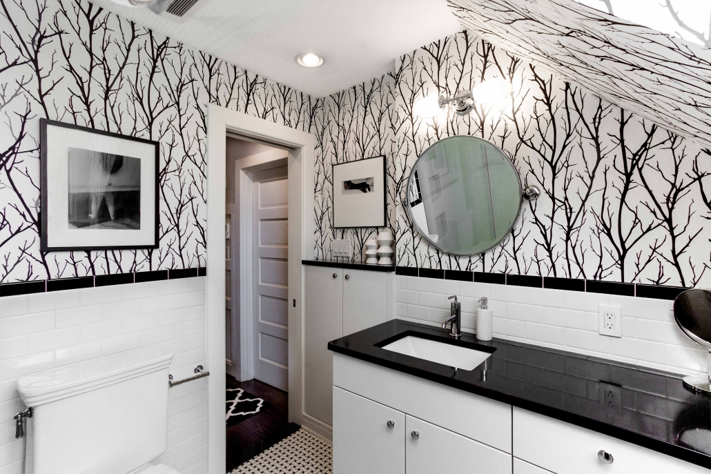 Bathroom remodeling, Foster Remodeling Solutions, Alexandria, VA with Crystal cabinets withe Cambria Cambrian Black countertops