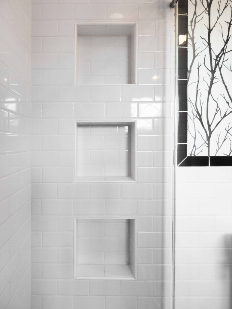 Bathroom remodeling, Alexandria, VA with Ceramic tile walls with three recessed niches