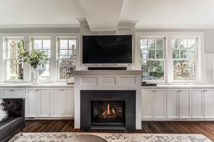 Foster remodeling Solutions, interior remodeling, Alexandria VA with gas fireplace