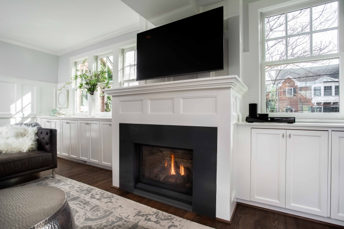 Alexandria Interior Remodel with Regency natural gas fireplace insert and Cambria Field Stone surround in black