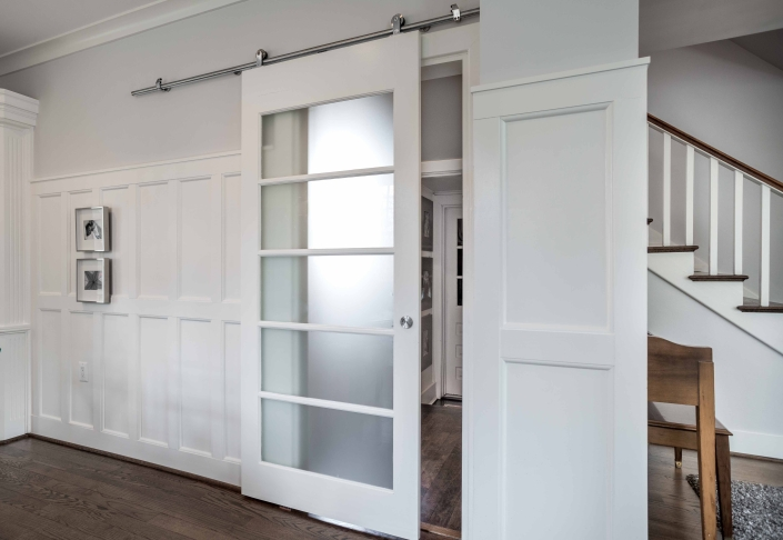 Interior remodeling, Alexandria, VA with Solid Core interior sliding barn door with etched glass