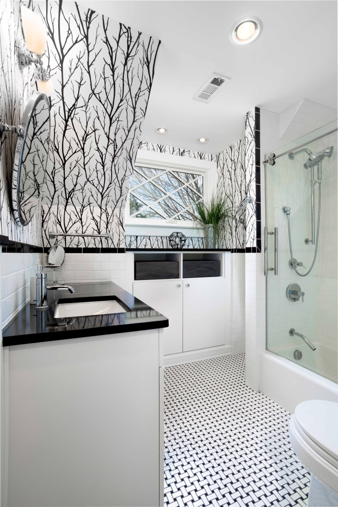 Remodling, Bathroom remodeling, Alexandria, VA with Crystal cabinets and Florida Mosaic Basketweave Mesh floor tile