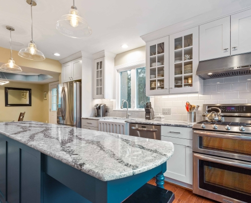 Custom kitchen Remodel, Arlington, VA Foster Remodeling Solutions with Cambria Seagrove island countertop and glass front cabinet doors