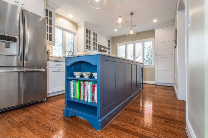 Kitchen Remodeling, Arlington, VA Crystal cabinets with Gentry door style in Denim paint color