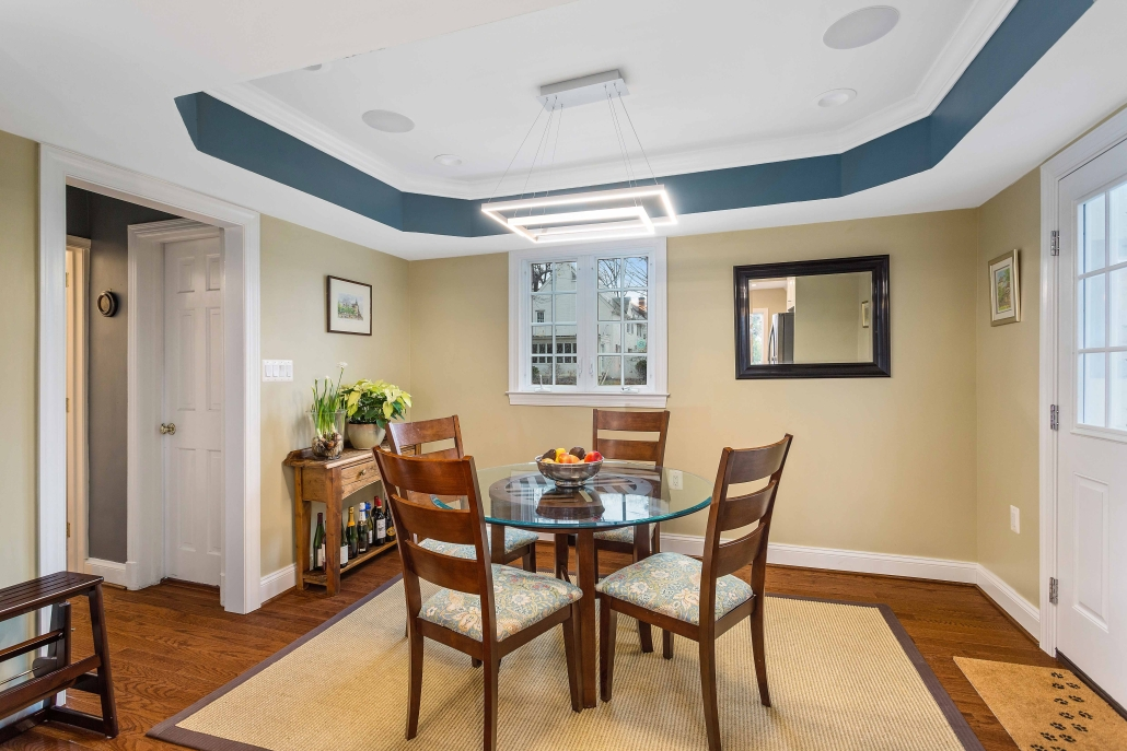 Dining room remodel, Arlington, VA with custom light fixture and Earthwise casement window