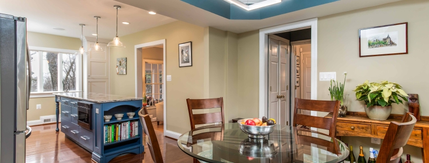 Arlington, VA Kitchen Remodel with dining area, open floor plan and custom island with bookshelf end