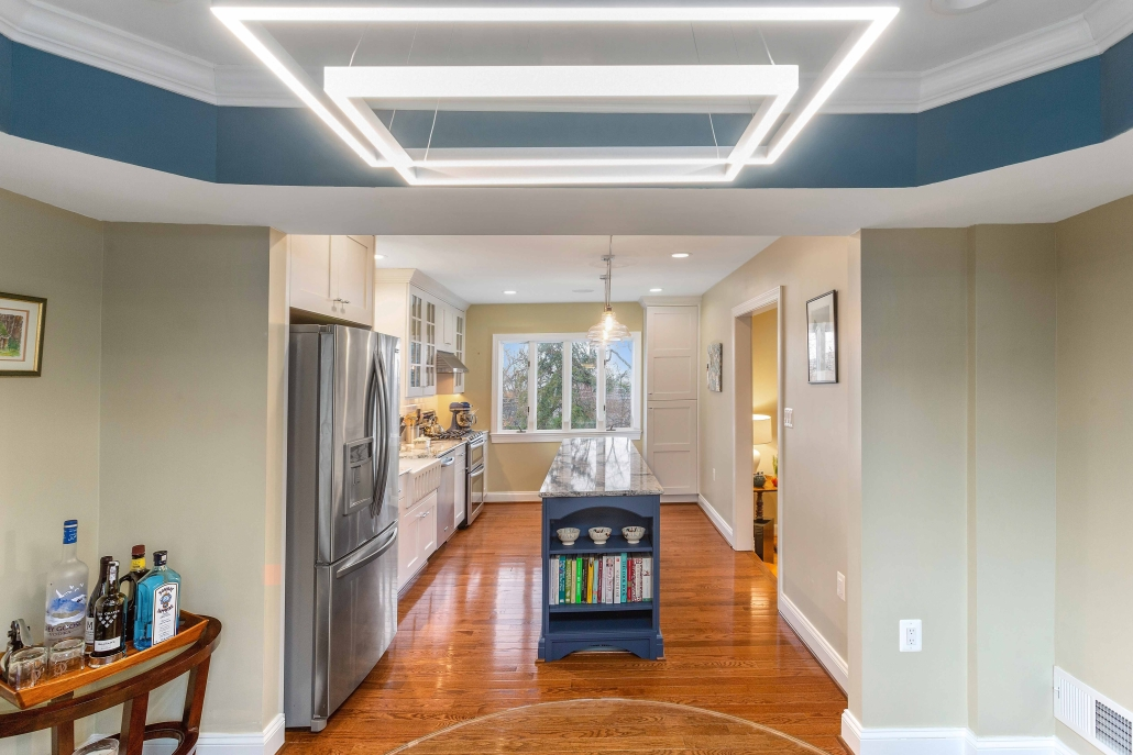 Kitchen remodeling, Arlington, VA with Bruce Plank Dundee hardwood flooring and custom light fixture