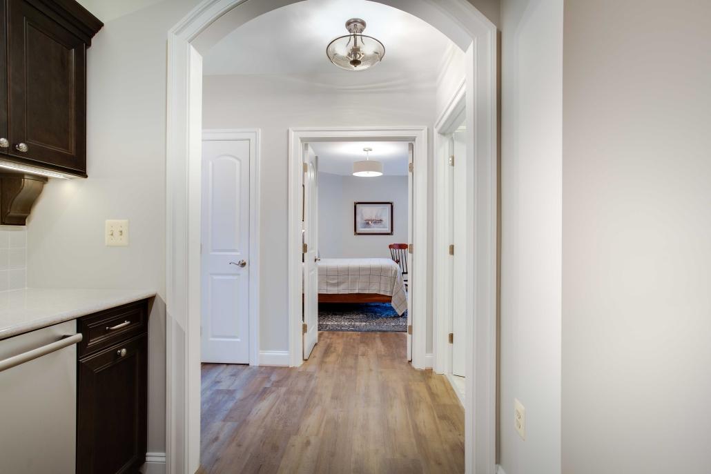 Alexandria Bedroom, basement remodel, in-law suite with Happy Feet LVP flooring