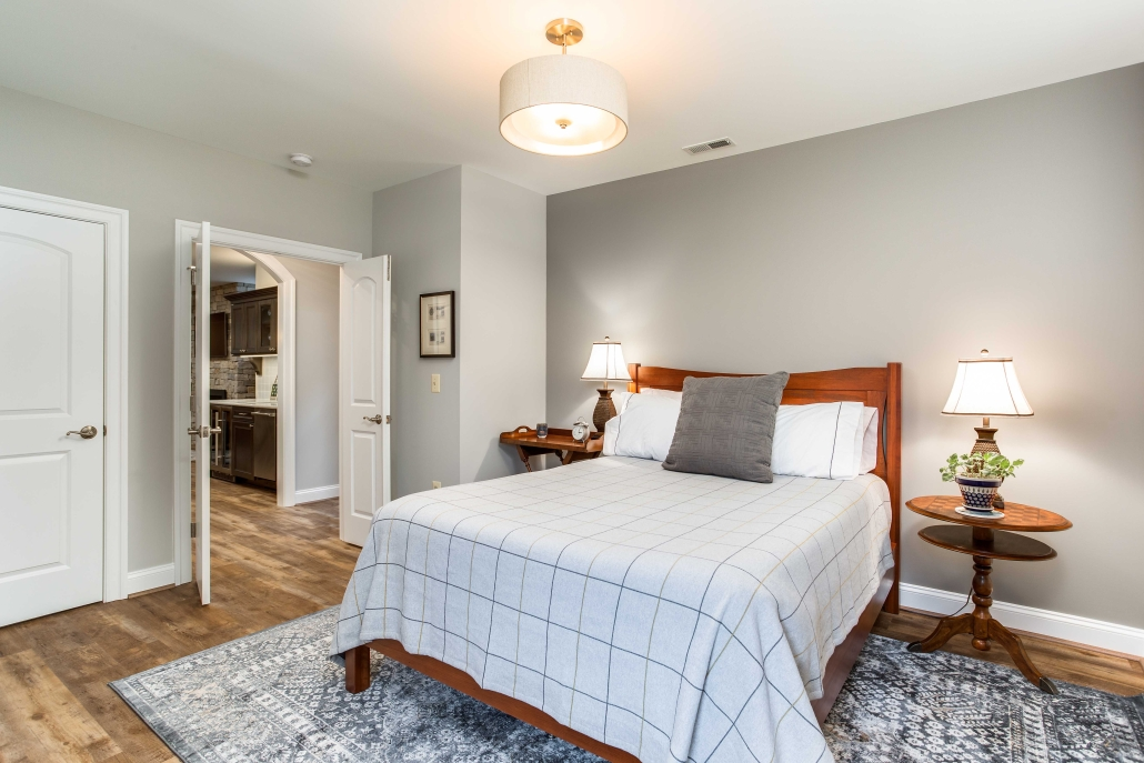 Basement remodel, bedroom addition with bathroom, living area and Kitchenette in Alexandria, VA