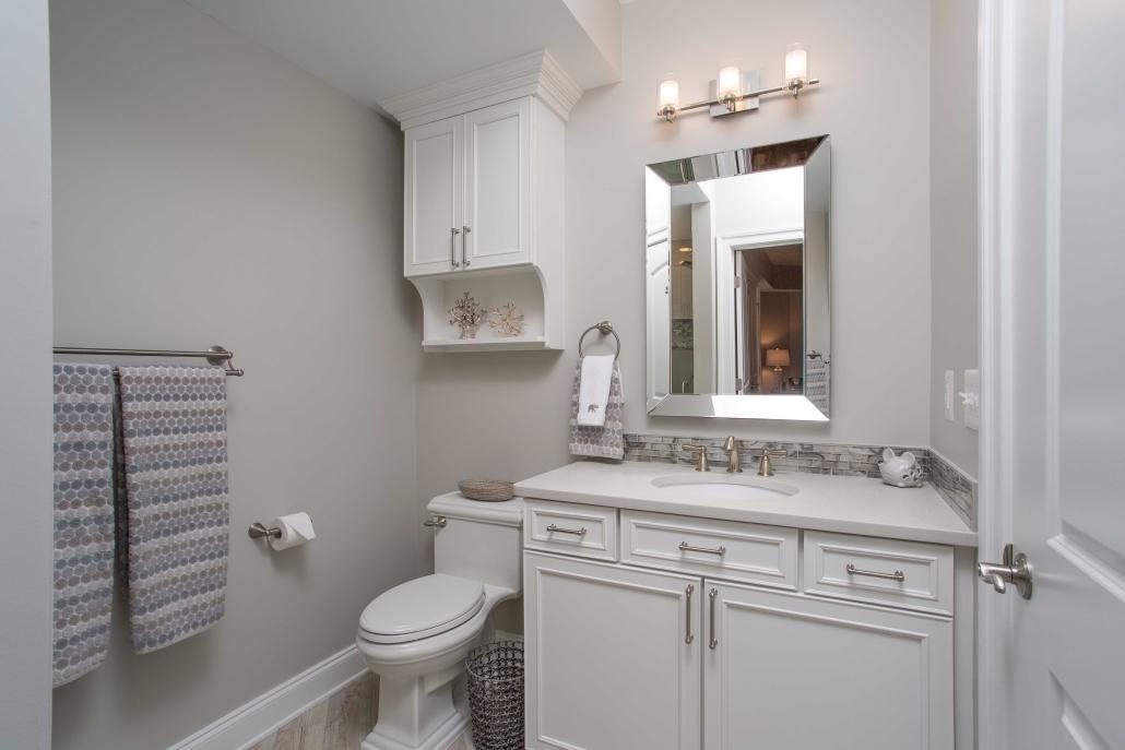 Bathroom remodeling, Alexandria VA with Kohler Memoirs toilet, Waypoint vanity cabinet in white
