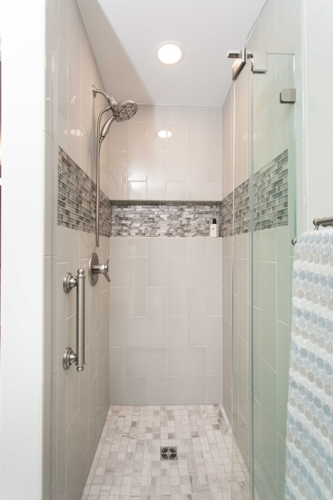 Alexandria Basement In-Law Suite addition, custom shower with recessed niche in glass tile and Elevare tile walls