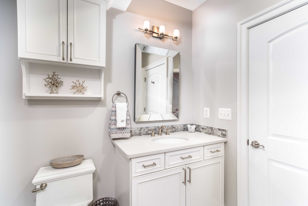 Basement In-law suite with Waypoint vanity and Ceasarstone countertop with Delta faucet