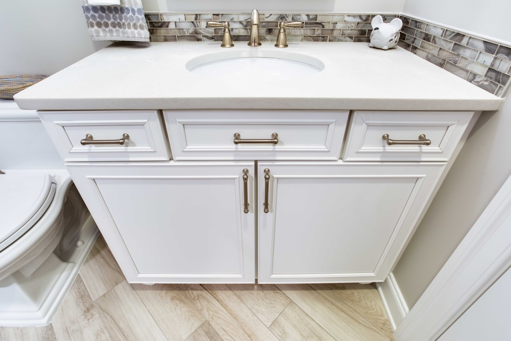 Basement bathroom remodeling, Alexandria, VA with Waypoint vanity cabinets and Top Knobs hardware