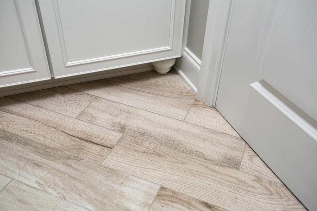 Basement bathroom flooring from Mosaic Tile in style Field Wine Barrel