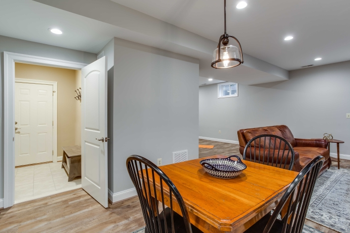 Basement remodeling, in-law suite with Solid Core doors and Happy Feet LVP flooring