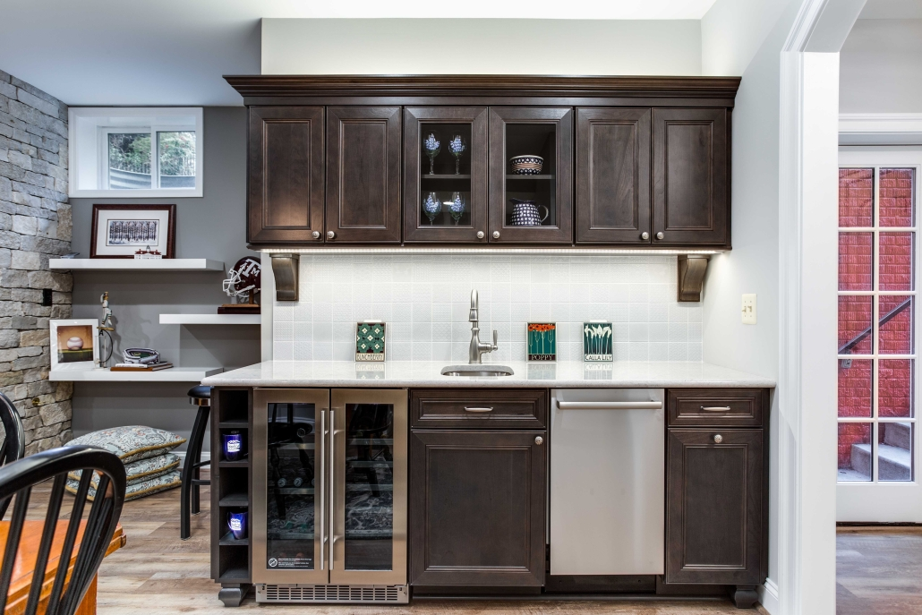 Kitchenette, basement remodel, Alexandria, VA with Waypoint cabinets and Cambria countertops