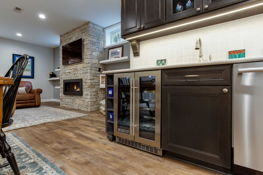 Alexandria, VA, in-law suite, basement remodel with Waypoint Cherry cabinets