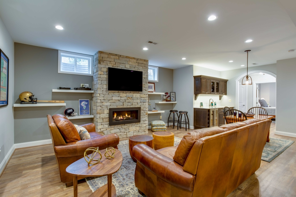 Home additions Alexandria, VA, In-law Suite, Basement Remodeling with Stone Fireplace and gas insert