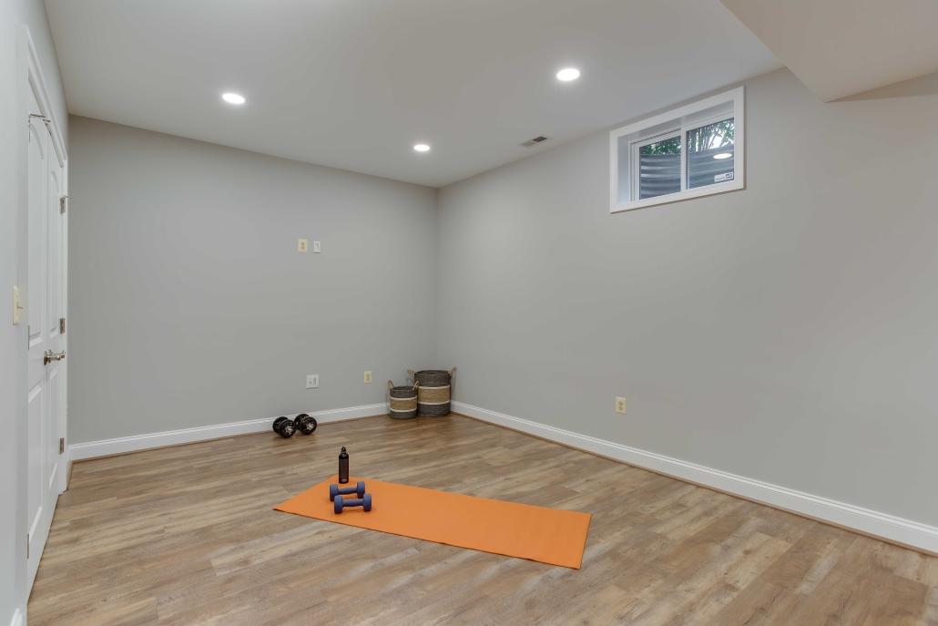Basement remodeling, Alexandria, VA with Happy Feet European Oak LVP flooring
