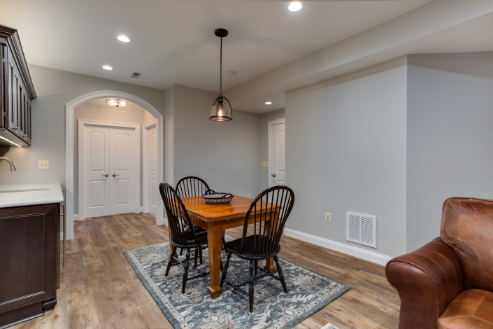 Alexandria, VA basement remodel with kitchen eating area