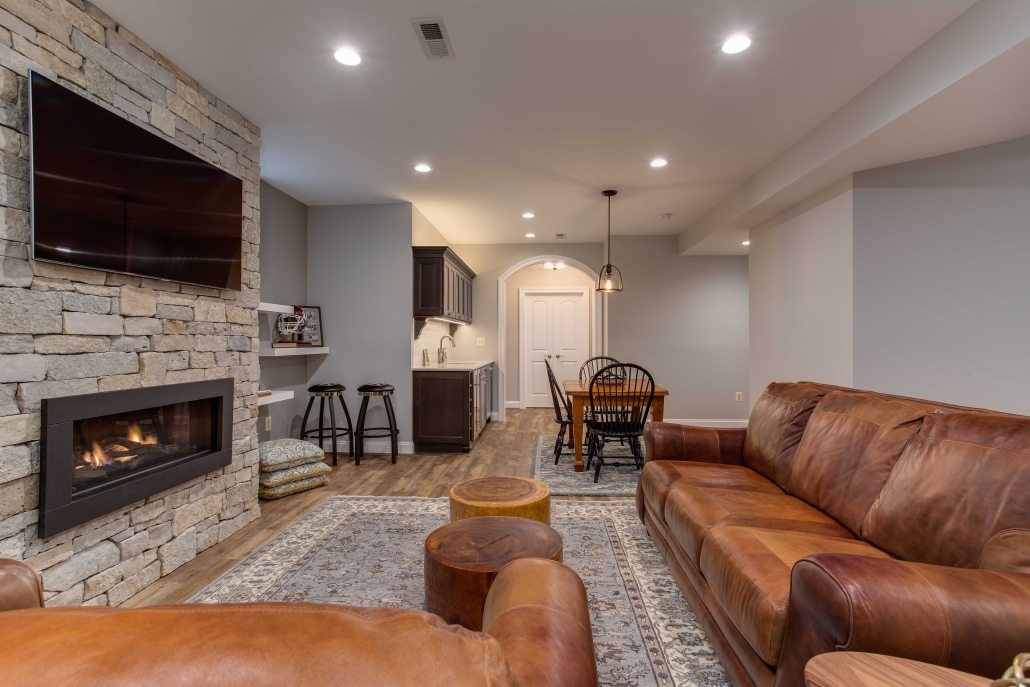 Alexandria, VA, basement suite remodel with living area and kitchenette