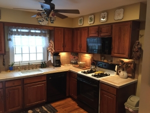 kitchen remodeling, Alexandria, VA with black appliances and dark features, before photo 1
