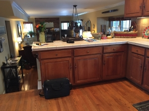 kitchen remodel, Alexandria, VA tile countertops and dated cabinets, before photo 3