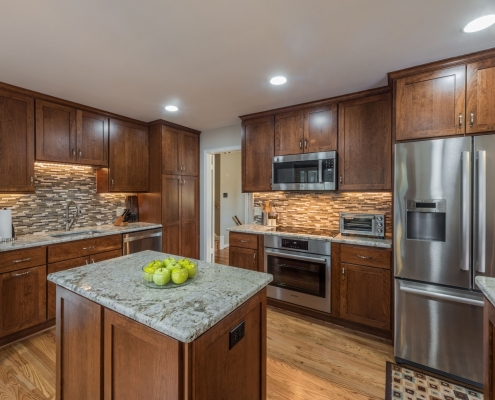 Kitchen remodeling, Annandale VA with Crystal cabinets, White Galaxy granite countertops and tile backsplash