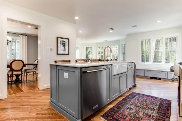 Arlington, VA kitchen remodel with custom island using Waypoint cabinetry and Kohler cast iron apron front sink