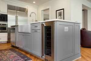 remodeling, custom kitchen, Arlington, VA with Waypoint cabinets in island with Kohler cast iron apron front sink and wine refridgerator