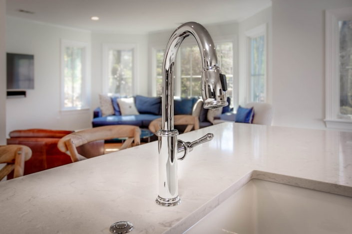 kitchen remodeling, Arlington VA with Newport Brass Chesterfield Polished Chrome single handle pull out faucet