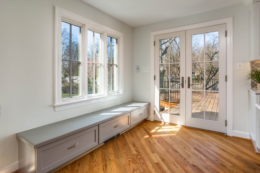 "custom home addition, Arlington, VA with Marvin Ebony Exterior windows and doors with Waypoint custom bench and 1/4"" hardwood flooring"