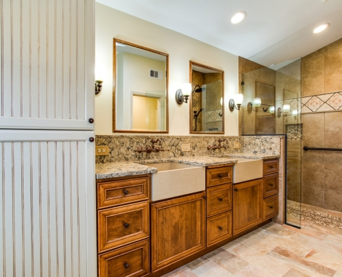 Centreville, VA, custom master bath remodel, with dual Cambria farm sinks and Signature Hardware faucets
