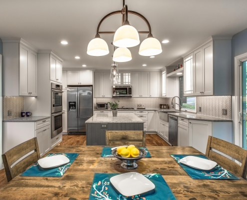 Remodeling, kitchen, Fairfax, VA featuring Quartz countertops and Crystal cabinets
