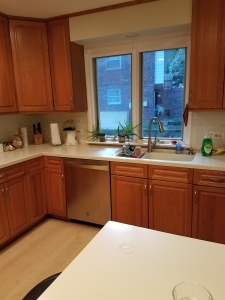 Fairfax kitchen remodel before photo with 80's style cherry cabinets and