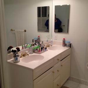 bathroom remodel, Great Falls, VA small vanity, before photo 1