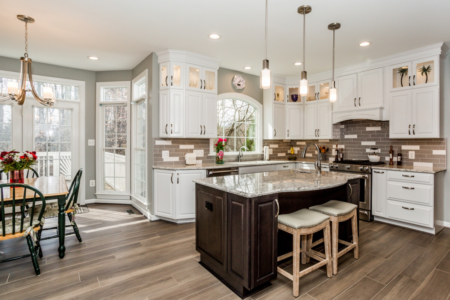 Springfield, VA, custom kitchen remodel with Jim Bishop cabinets and island with Cambria countertops