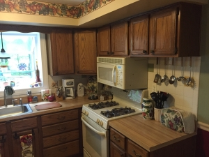 kitchen remodel, dated oak cabinets and laminate countertops, before photo 1