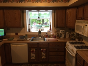 Springfield, VA, dark, outdated kitchen with white appliances, before photo 2