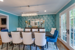 Interior remodeling, Springfield, VA, update dining room with custom wallpaper and paint color
