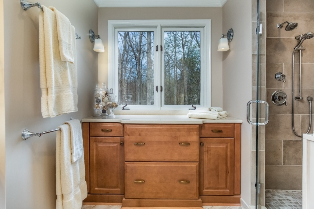 Aging in Place Bathroom Remodel Woodbridge with Waypoint cabinets with spice stain and Jeffrey Alexander Milan knobs and pulls